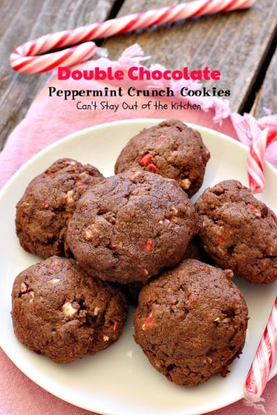 Double Chocolate Peppermint Crunch Cookies | Can't Stay Out of the Kitchen | these #chocolate #cookies are amazing. #Andes #peppermint baking chips add delightful flavor. Great for #holiday baking. #dessert