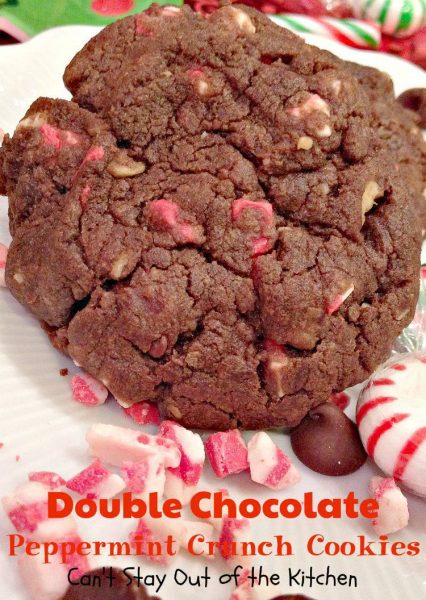 Double Chocolate Peppermint Crunch Cookies | Can't Stay Out of the ...