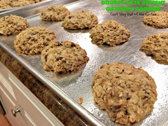 Double Date Delight Oatmeal Cookies | Can't Stay Out of the Kitchen | these fantastic #OatmealCookies are delightful indeed! They're chocked full of #dates & #oatmeal making them doubly delicious. Perfect for #fall or #HolidayBaking, #tailgating parties or potlucks. #dessert #DateOatmealCookies #DoubleDateDelightOatmealCookies #cookies #ChristmasCookieExchange