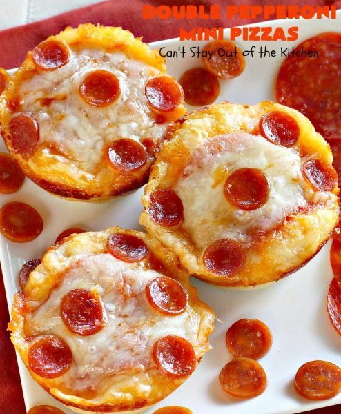 Double Pepperoni Mini Pizzas | Can't Stay Out of the Kitchen | this easy 5-ingredient miniature #pizza is fantastic. It's terrific for #tailgating, #NewYearsEve or #SuperBowl parties. #pepperoni #mozzarella