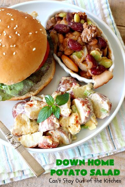 Down Home Potato Salad | Can't Stay Out of the Kitchen | Wow your family with this Best #PotatoSalad #Recipe ever! This is so mouthwatering & delicious. It's not like so many drab #Potato #Salad recipes with very little flavor & less ingredients. Terrific for #tailgating parties, potlucks, backyard BBQs & Family Reunions. #GlutenFree #eggs #holiday #DownHomePotatoSalad #MemorialDay #LaborDay #FourthOfJuly