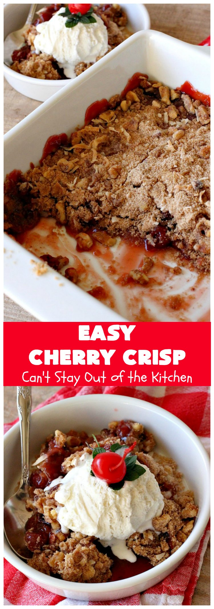 Easy Cherry Crisp| Can't Stay Out of the Kitchen | This scrumptious #dessert is also quick, easy & simple to make. Perfect for company or #ValentinesDay or other #holidays. #cherries #CherryDessert #EasyCherryCrisp