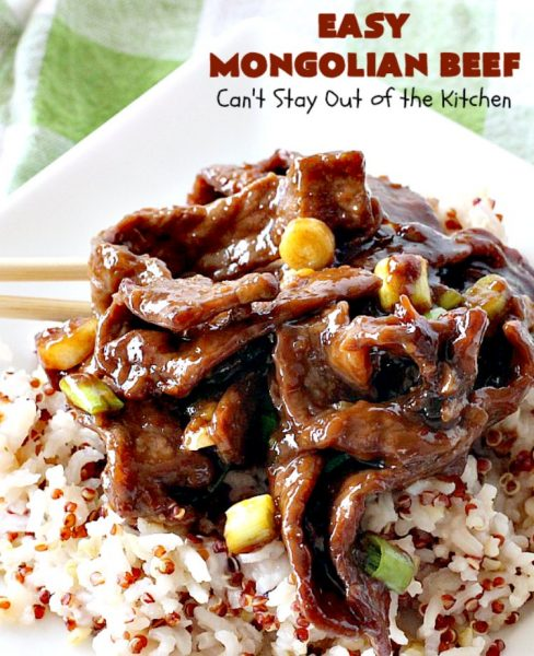 Easy 30-Minute Mongolian Beef | Can't Stay Out of the Kitchen | this is perfect for weeknight suppers when you need to have a meal ready in 30 minutes! This scrumptious #beef entree is absolutely terrific served over rice. #glutenfree