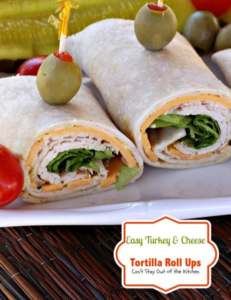 Easy Turkey and Cheese Tortilla Roll Ups | Can't Stay Out of the Kitchen | these wonderful #appetizers are great #SuperBowl or #tailgating fare. They're also great for #lunches and #snacks. #wraps #turkey #cheese