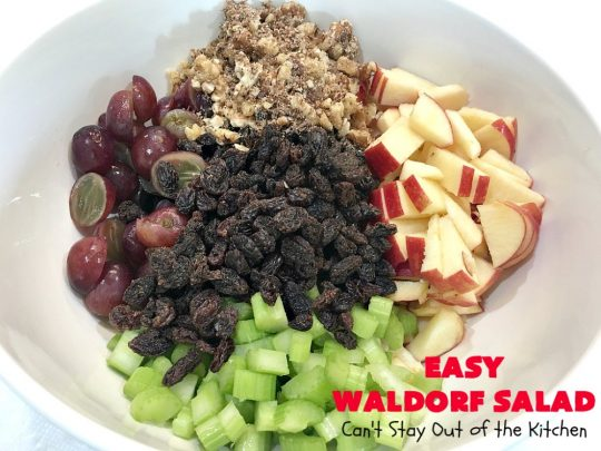 Easy Waldorf Salad | Can't Stay Out of the Kitchen | this luscious #GooseberryPatch #recipe uses #apples, #raisins, #grapes, #celery & #walnuts. This is the perfect #FruitSalad for #Christmas & other #holiday menus. It can be prepared in under 10 minutes. #salad #WaldorfSalad #EasyWaldorfSalad #GlutenFree #HolidaySideDish