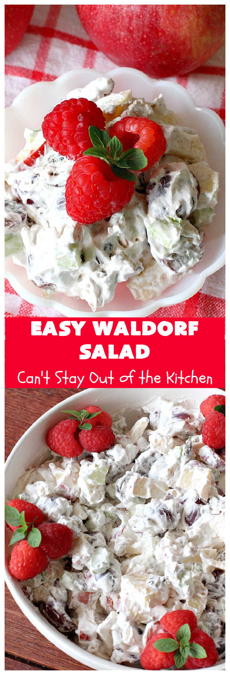 Easy Waldorf Salad | Can't Stay Out of the Kitchen | this luscious #GooseberryPatch #recipe uses #apples, #raisins, #grapes, #celery & #walnuts. This is the perfect #FruitSalad for #summer & #holiday menus. It can be prepared in under 10 minutes. #salad #WaldorfSalad #EasyWaldorfSalad #GlutenFree #HolidaySideDish