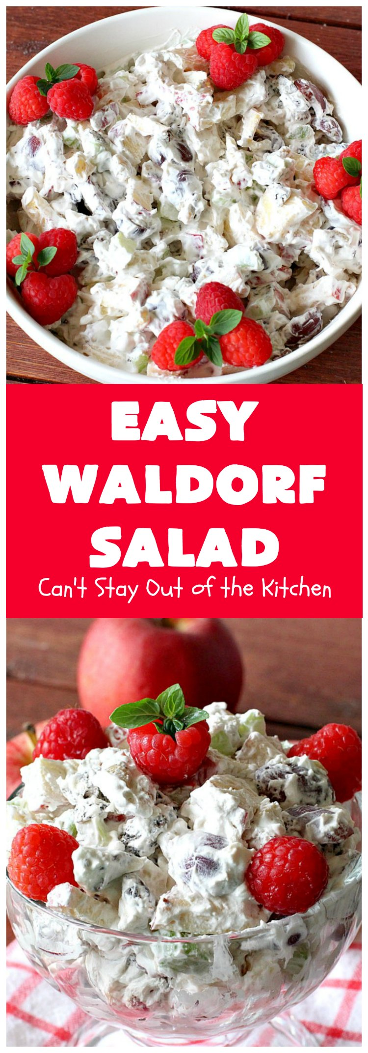 Easy Waldorf Salad   Can't Stay Out of the Kitchen   this luscious #GooseberryPatch #recipe uses #apples, #raisins, #grapes, #celery & #walnuts. This is the perfect #FruitSalad for #Christmas & other #holiday menus. It can be prepared in under 10 minutes. #salad #WaldorfSalad #EasyWaldorfSalad #GlutenFree #HolidaySideDish
