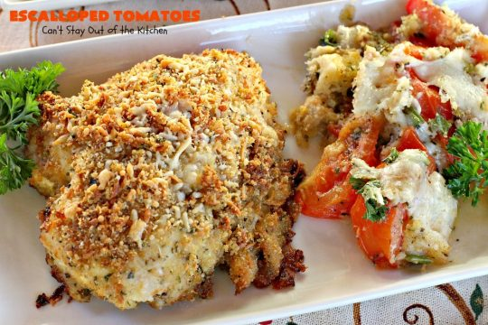 Escalloped Tomatoes | Can't Stay Out of the Kitchen | This is one of my favorite side dishes. It's a great #casserole for chicken or pork. It's also an easy #veggie to make for #Thanksgiving or #Christmas. #tomatoes #cheese
