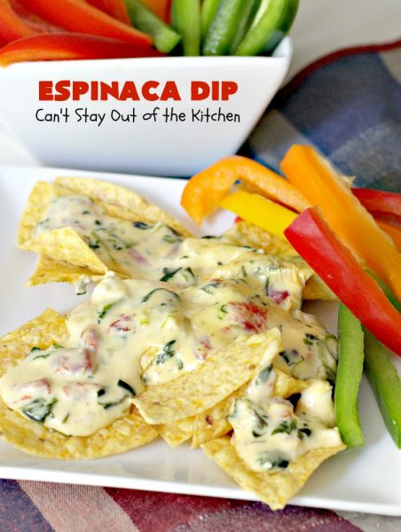 Espinaca Dip | Can't Stay Out of the Kitchen | this fabulous #TexMex #appetizer is perfect for #tailgating parties & potlucks. Everything is dumped in the #crockpot! Jose Peppers Cantina #copycat recipe.