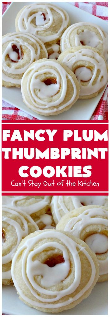 Fancy Plum Thumbprint Cookies | Can't Stay Out of the Kitchen