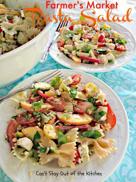 Farmer's Market Pasta Salad with Parmesan Vinaigrette | Can't Stay Out of the Kitchen