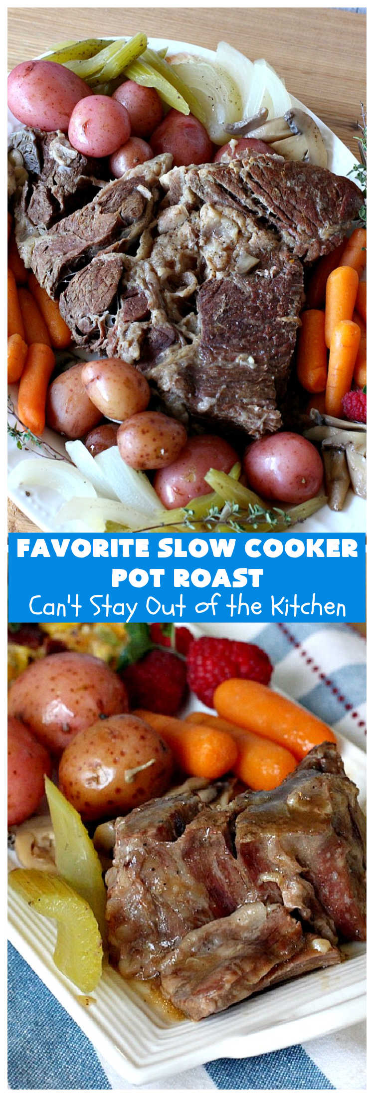 Favorite Slow Cooker Pot Roast | Can't Stay Out of the Kitchen | this family favorite #recipe always gets rave reviews whenever we make it. The #gravy is wonderful. If you enjoy #PotRoast this easy #SlowCooker version is perfect for you! #potatoes #carrots #mushrooms #beef #FavoriteSlowCookerPotRoast