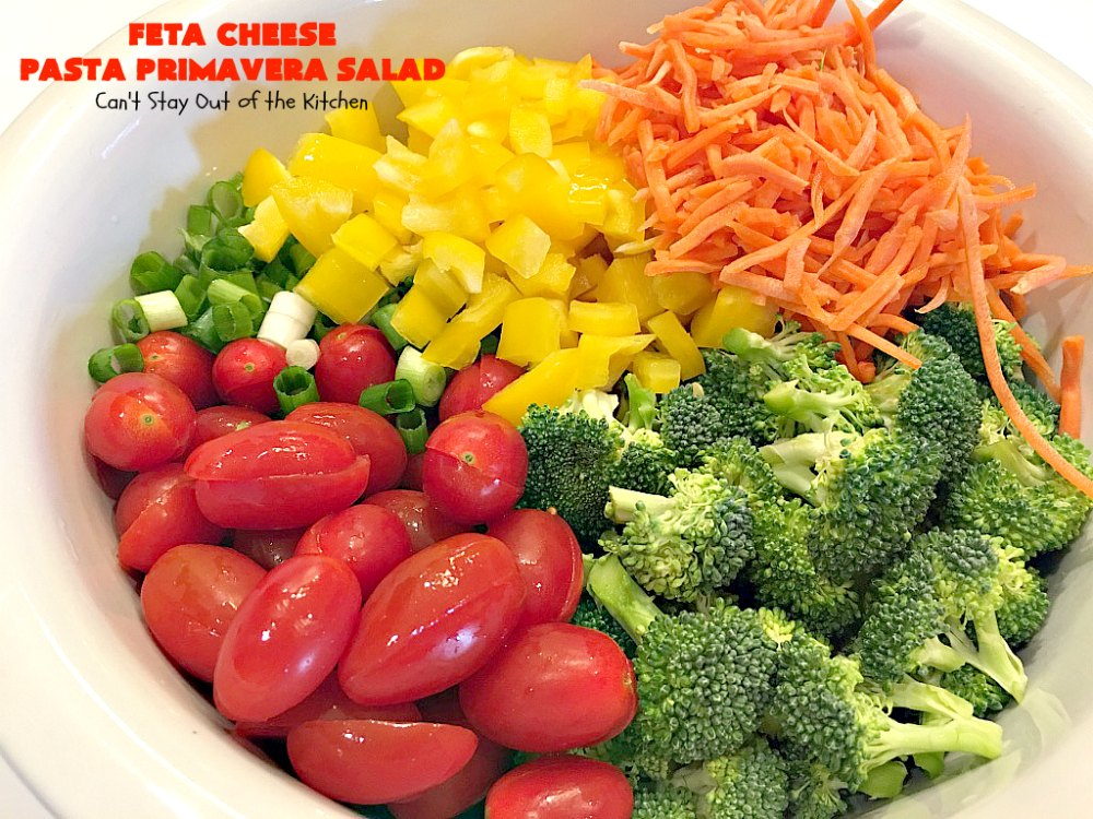 Feta Cheese Pasta Primavera Salad - Can't Stay Out of the ...