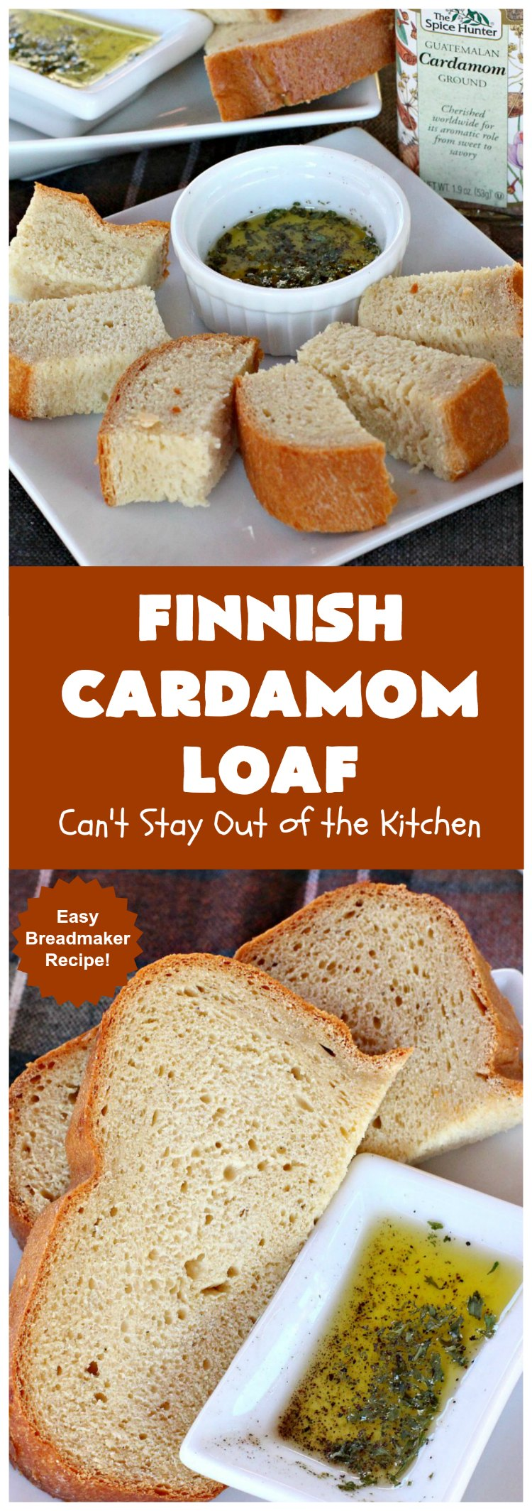 Finnish Cardamom Loaf | Can't Stay Out of the Kitchen | this fantastic home-baked #bread is so easy since it's made in the #breadmaker. Perfect for #breakfast or as a side for soup, chili or other comfort food meals. #cardamom #Finnish #Finland #FinnishCardamomLoaf #HomemadeBread