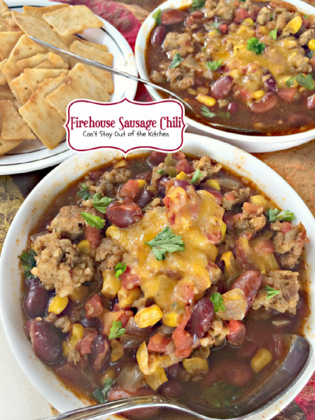 Firehouse Sausage Chili | Can't Stay Out of the Kitchen | spicy #Tex-Mex #chili is made with #sausage instead of #beef. Amazing! #glutenfree #soup