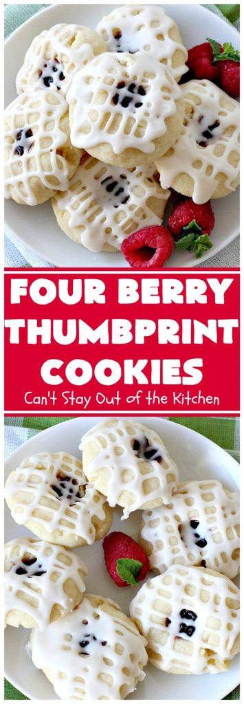 Four Berry Thumbprint Cookies | Can't Stay Out of the Kitchen | these fantastic #cookies are made with #raspberry, #cherry #blackberry & #strawberry jam. Perfect for any #holiday, potluck or family reunion. #dessert