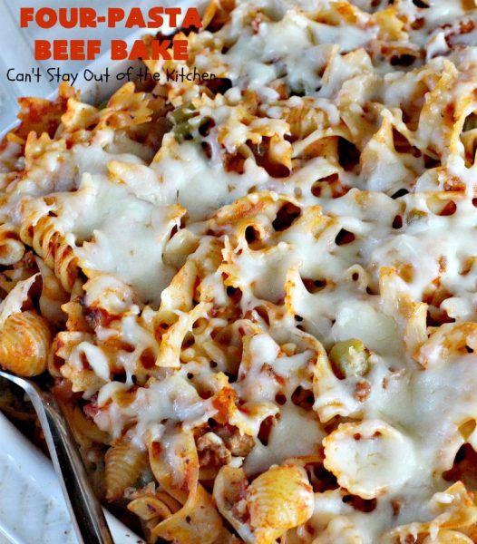 Four-Pasta Beef Bake | Can't Stay Out of the Kitchen | this quick & easy #Italian #pasta entree makes two casseroles. It's great for company or to provide a freezer meal to someone. #beef #groundbeef #cheese #mozzarellacheese #noodles #casserole