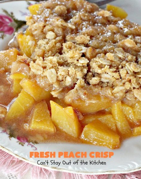 Fresh Peach Crisp | Can't Stay Out of the Kitchen | this amazing #dessert is filled with fresh #peaches & topped with a brown sugar-streusel topping. Recipe is both #glutenfree & #vegan.