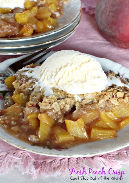 Fresh Peach Crisp | Can't Stay Out of the Kitchen | sensational #peachcobbler type #dessert that's #vegan and #glutenfree! #peaches