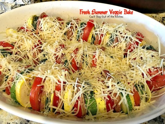 Fresh Summer Veggie Bake | Can't Stay Out of the Kitchen | this delicious #vegetable Tian is incredibly tasty & easy to make. It's also healthy, low calorie & #glutenfree. #zucchini #tomatoes #parmesancheese