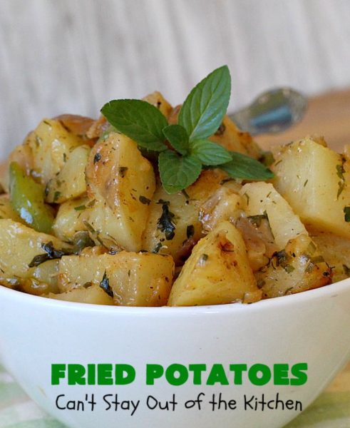 Fried Potatoes | Can't Stay Out of the Kitchen | everyone loves my Grandma's old-fashioned #recipe for #FriedPotatoes. While these #potatoes are great as a #SideDish, we usually serve them for #Breakfast. Wake your family up with this side dish for #Thanksgiving or #Christmas morning and everyone will be licking their chops. Amazing comfort food. #GlutenFree
