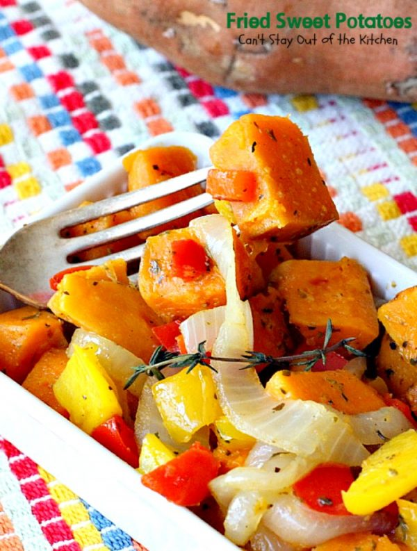 Fried Sweet Potatoes   Can't Stay Out of the Kitchen   we love this delightful savory way to prepare #sweetpotatoes. Great for #breakfast or as a side dish. Healthy, low calorie, #clean-eating, #glutenfree #vegan