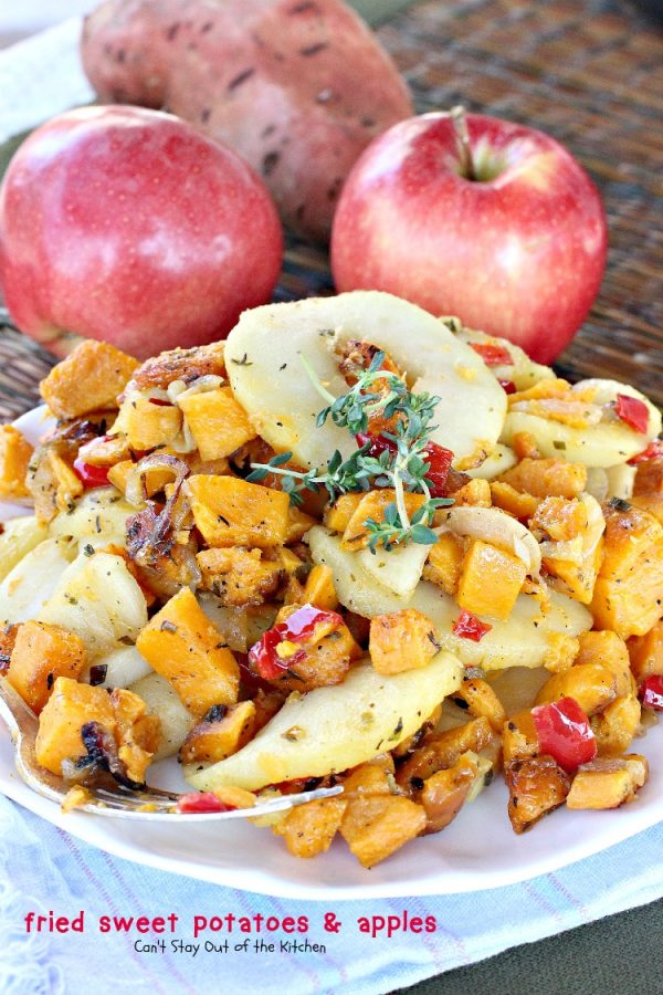 Fried Sweet Potatoes and Apples | Can't Stay Out of the Kitchen | we love this #healthy, #lowcalorie and tasty #breakfast dish. Quick and easy, too. #glutenfree #vegan #sweetpotatoes #apples