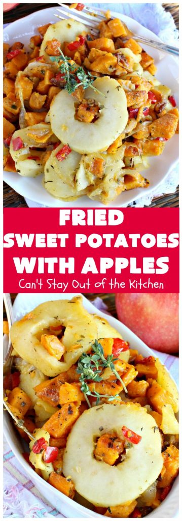 Fried Sweet Potatoes with Apples | Can't Stay Out of the Kitchen | Wake your family up to this scrumptious #breakfast entree for #Christmas & other #holidays! The flavors are savory, mouthwatering & irresistible. Perfect comfort food & it's #healthy, #GlutenFree #Vegan & #CleanEating. #SweetPotatoes #Apples #Holiday #FriedSweetPotatoesWithApples #brunch #HolidaySideDish #HolidayBreakfast