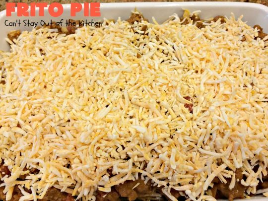 Frito Pie | Can't Stay Out of the Kitchen | this easy 6-ingredient #recipe is absolutely terrific. The casserole has #TexMex flavors with layers of #beef mixed with #chili, #Fritos & lots of #cheese. #glutenfree #CincoDeMayo