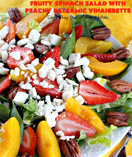 Fruity Spinach Salad with Peachy Balsamic Vinaigrette | Can't Stay Out of the Kitchen | this fantastic #salad uses #strawberries, #peaches, whole #pecans & #feta cheese along with a homemade dressing. It's wonderful for company or #holiday dinners like #Easter, #MothersDay or #FathersDay. #glutenfree