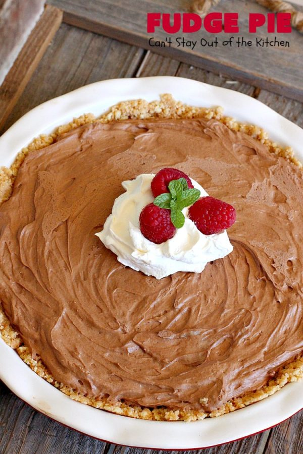 Fudge Pie   Can't Stay Out of the Kitchen   this amazing #ChocolatePie is rich, decadent and absolutely divine! Every bite will have you drooling. It's terrific for company or #holidays like #Easter or #MothersDay. #Pie #FudgePie #chocolate #HolidayDessert #EasterDessert #MothersDayDessert #FudgeDessert