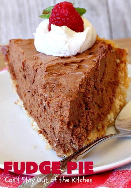 Fudge Pie | Can't Stay Out of the Kitchen | this amazing #ChocolatePie is rich, decadent and absolutely divine! Every bite will have you drooling. It's terrific for company or #holidays like #Easter or #MothersDay. #Pie #FudgePie #chocolate #HolidayDessert #EasterDessert #MothersDayDessert #FudgeDessert