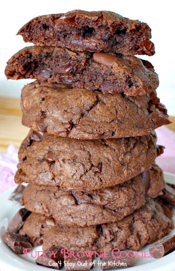 Fudgy Brownie Cookies | Can't Stay Out of the Kitchen | These #chocolate #cookies are awesome. I've made them 3 times in 2 weeks! They use 3 kinds of chocolate & are great for #holiday #baking. #dessert