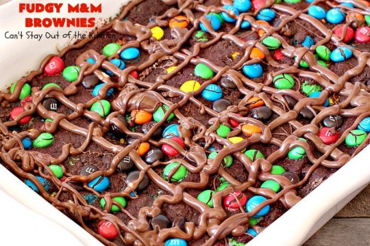 Fudgy M&M Brownies | Can't Stay Out of the Kitchen | these fantastic #brownies are rich, decadent & divine! They're filled with #M&Ms & glazed with #chocolate icing. Amazing #dessert.
