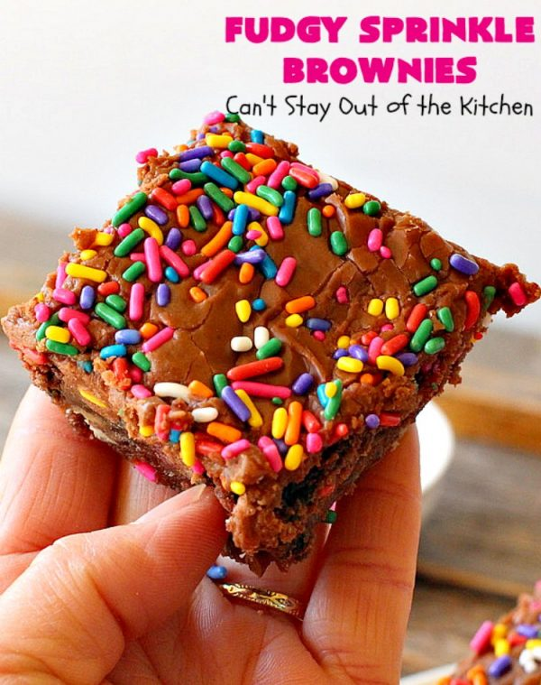 Fudgy Sprinkle Brownies | Can't Stay Out of the Kitchen | these dynamite #brownies are filled with #chocolate & #sprinkles! The #fudge frosting is to die for! They're perfect for #tailgating parties, potlucks or any family get-together. #cookie #dessert
