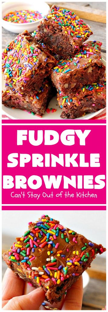 Fudgy Sprinkle Brownies | Can't Stay Out of the Kitchen