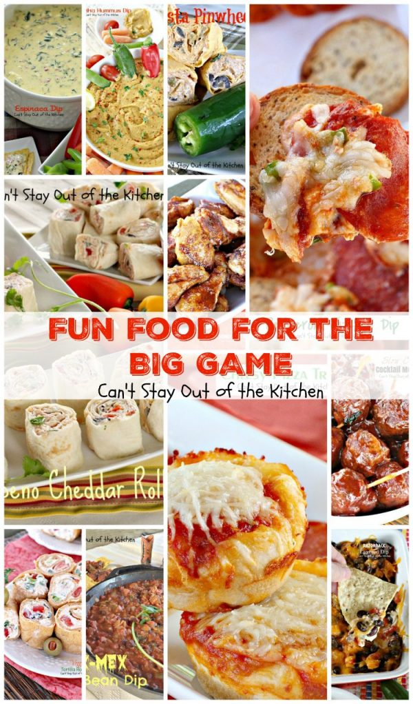 Fun Food for the Big Game | Can't Stay Out of the Kitchen | 65 #appetizers, finger foods, #hummus recipes & tortilla roll ups & pinwheels to make for the #SuperBowl!