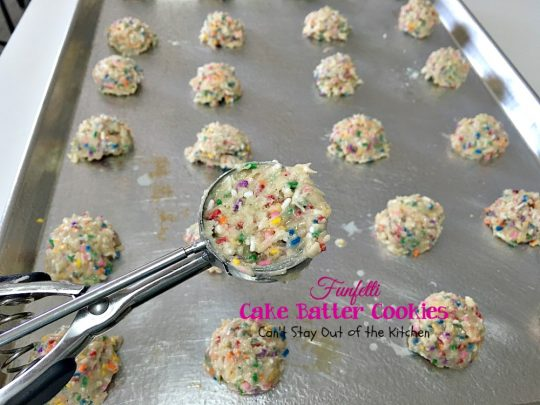 Funfetti Cake Batter Cookies | Can't Stay Out of the Kitchen | these fantastic #cookies are so quick and easy to make since they start with a #cakemix. Add lots of #funfetti sprinkles and you have one of the best cookies imaginable. #dessert