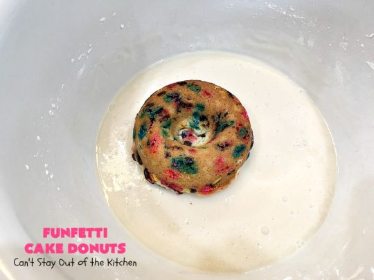 Funfetti Cake Donuts | Can't Stay Out of the Kitchen | my favorite #donut #recipe. These have delightful #almond flavoring in the donut & icing. #Sprinkles make everything better! Great for a #holiday #breakfast like #MemorialDay or #FathersDay. #Funfetti #FunfettiCakeDonuts #HolidayBreakfast