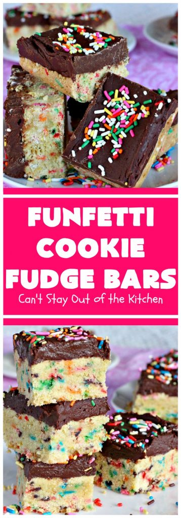 Funfetti Cookie Fudge Bars | Can't Stay Out of the Kitchen | these delicious #funfetti #cookies have a scrumptious #fudge frosting on top. Terrific for #tailgating parties, potlucks, backyard BBQs & summer #holiday fun like #FourthOfJuly. #chocolate #FunfettiCookie #FunfettiCookieFudgeBars #ChocolateDessert #FunfettiDessert