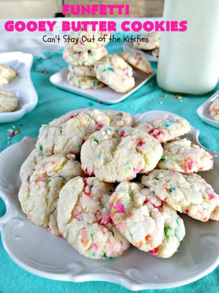 Funfetti Gooey Butter Cookies | Can't Stay Out of the Kitchen | these easy & delicious #cookies really deliver on taste. They're perfect for birthdays, potlucks, tailgating parties or any time you're craving a sweet treat. #dessert #funfetti #CreamCheese #FunfettiGooeyButterCookies #FunfettiDessert #sprinkles