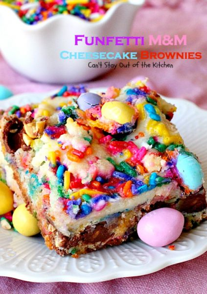 Funfetti M&M Cheesecake Brownies | Can't Stay Out of the Kitchen | these rich and decadent #brownies are sure to satisfy any sweet tooth craving. #peanutbutter #M&M's #rainbowsprinkles and #cheesecake make for an unbeatable combination. #dessert #chocolate