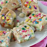 Funfetti White Chocolate Gooey Bars | Can't Stay Out of the Kitchen