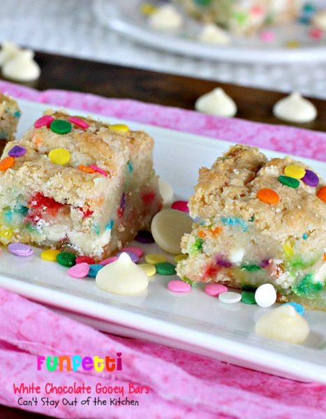 Funfetti White Chocolate Gooey Bars | Can't Stay Out of the Kitchen | these sensational and gooey #brownies are great for birthdays and #holidays. They're filled with #whitechocolatechips #funfetti and sweetened #condensedmilk. #cookie #dessert