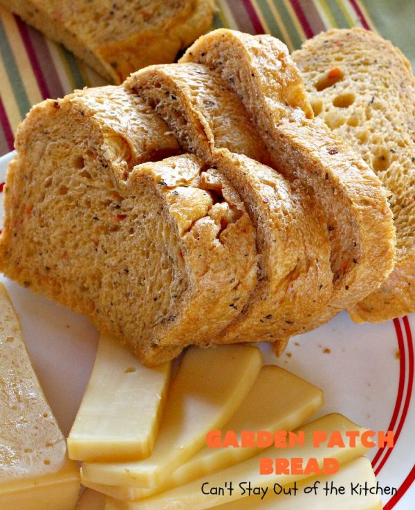 Garden Patch Bread | Can't Stay Out of the Kitchen | this delectable homemade #bread #recipe is made in the #breadmaker so it's incredibly easy. It uses simple garden veggies & it's also #vegan. #HomemadeBread #GardenPatchBread
