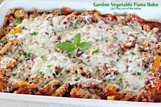 Garden Vegetable Pasta Bake | Can't Stay Out of the Kitchen | this delicious #pasta dish is quick and easy, made with many fresh #garden #veggies, and two #cheeses. #glutenfree #beef