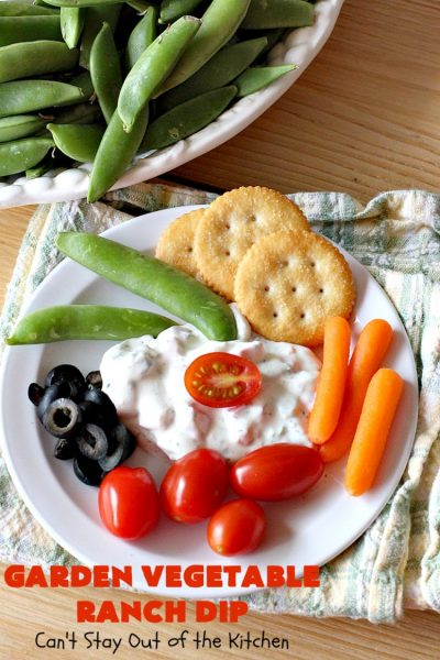 Garden Vegetable Ranch Dip | Can't Stay Out of the Kitchen | this quick & easy 6-ingredient #recipe is the perfect dip for #tailgating parties, potlucks or the #SuperBowl! You can whip this up in 5 minutes. Our company raved over this delicious #appetizer. Includes #RanchDressingMix, #olives & #tomatoes. #HiddenVallenRanchDressingMix #holiday #HolidayAppetizer #GardenVegetableRanchDip
