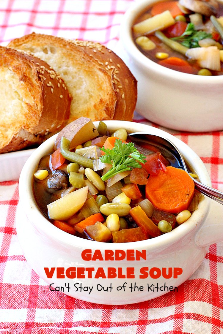 Garden Vegetable Soup | Can't Stay Out of the Kitchen | this savory & delicious #soup is chocked full of #veggies & so easy since it's made in the #crockpot. Enjoy a #LowCalorie comfort food meal with this tasty #recipe. #Healthy, #Clean Eating, #vegan & #GlutenFree. #MeatlessMondays #GardenVegetable Soup #SlowCooker #VegetableSoup #crockpot #EasyVegetableSoup