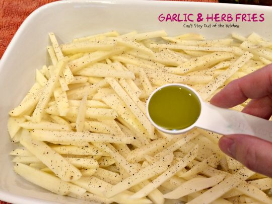 Garlic and Herb Fries | Can't Stay Out of the Kitchen | these oven #fries are succulent and amazing! Quick and easy, too. #Frenchfries #potatoes #glutenfree