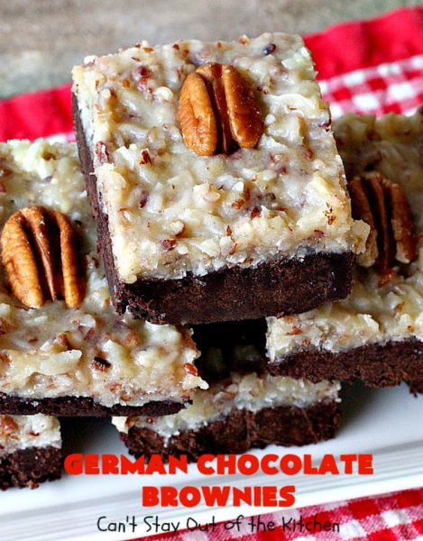 German Chocolate Brownies | Can't Stay Out of the Kitchen | these sensational #brownies have a thick, dense, fudgy #chocolate layer topped with #coconut #pecan icing. These are seriously addictive! #dessert